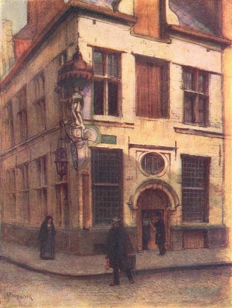 Associate Product BELGIUM. Old houses in the Rue de I'Empereur, Antwerp 1908 antique print