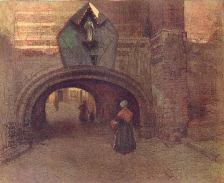 Associate Product BELGIUM. Archway under the Vieille Boucherie, Antwerp 1908 old antique print