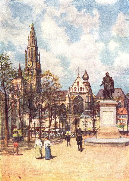 Associate Product BELGIUM. The Place Verte, Antwerp 1908 old antique vintage print picture