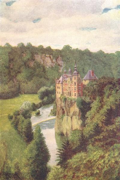 Associate Product BELGIUM. Chateau de Walzin, in the Lesse Valley 1908 old antique print picture