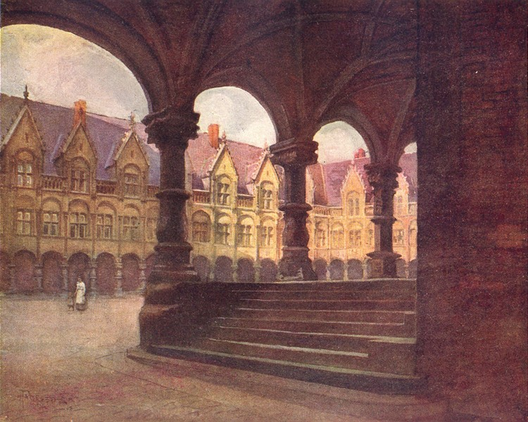 Associate Product BELGIUM. The Episcopal palace-outer court, Liège 1908 old antique print