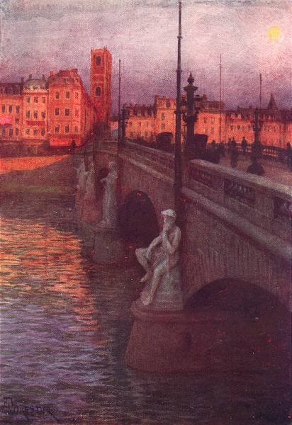 Associate Product BELGIUM. Pont Des Arches, Liège 1908 old antique vintage print picture