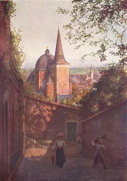 Associate Product BELGIUM. Escalier de La Fontaine, Liège 1908 old antique vintage print picture