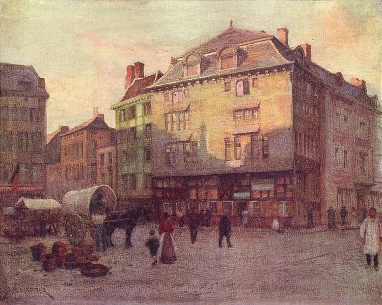 Associate Product BELGIUM. Old house of the Quai de La Goffe, Liège 1908 antique print