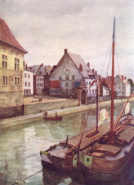 Associate Product BELGIUM. The river Sambre seen from the Pont de Sambre, Namur 1908 old print