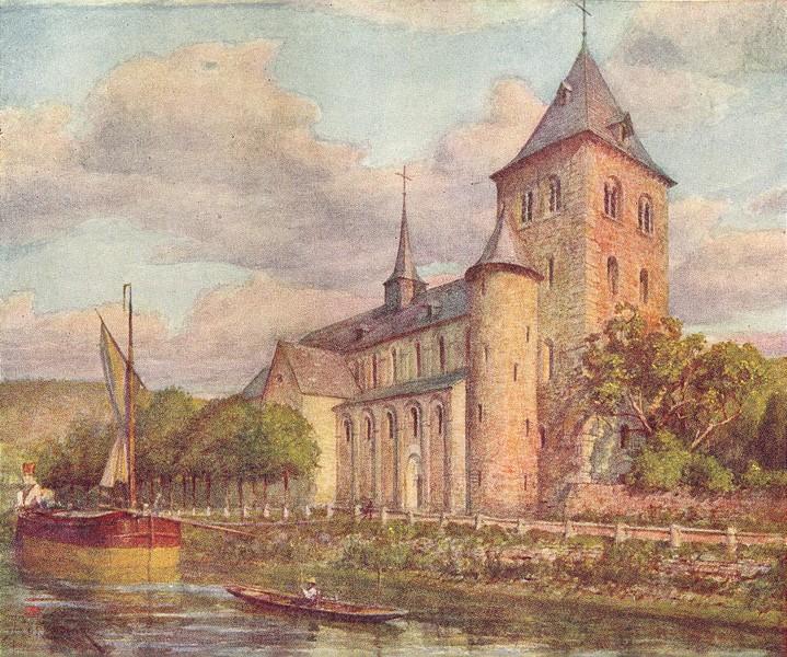 Associate Product BELGIUM. The Romanesque church, Hastière 1908 old antique print picture
