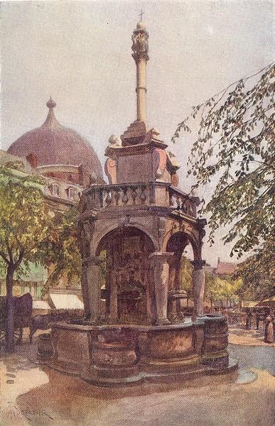 Associate Product BELGIUM. Le Perron Liegeois, Liège 1908 old antique vintage print picture