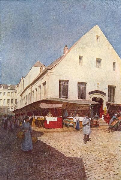 BELGIUM. La Vieille Boucherie, Liège 1908 old antique vintage print picture