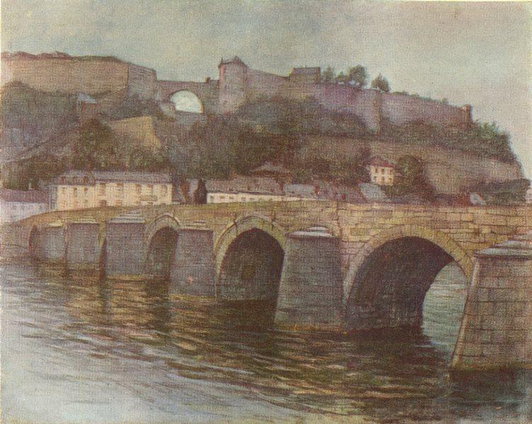 Associate Product BELGIUM. Pont de Jambes et Citadelle, Namur 1908 old antique print picture