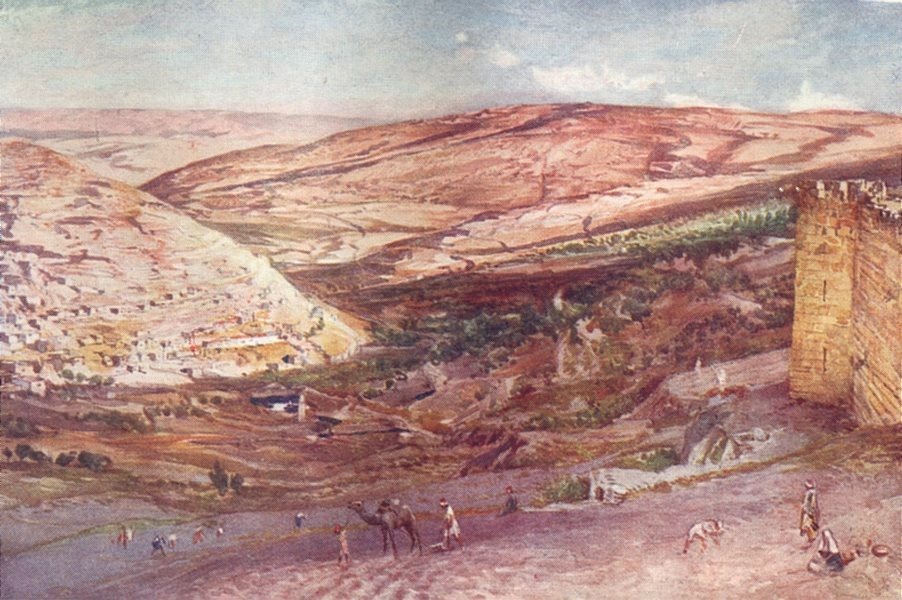 Associate Product JERUSALEM. valleys of Hinnom and Jehoshaphat 1902 old antique print picture
