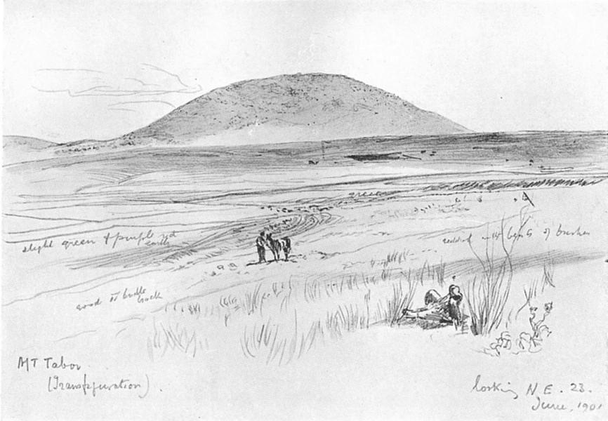 ISRAEL. Mount Tabor 1902 old antique vintage print picture