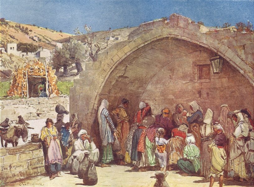 Associate Product ISRAEL. The fountain of the Virgin at Nazareth 1902 old antique print picture