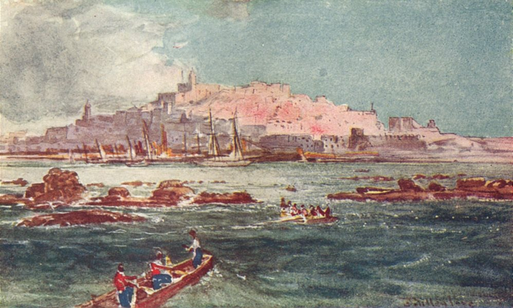Associate Product ISRAEL. Joppa Yafo Jaffa from the sea 1902 old antique vintage print picture