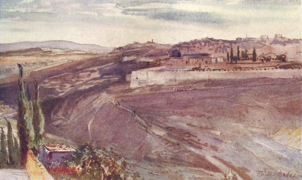 Associate Product JERUSALEM. Traditional spot, Mount of Olives Christ wept, city 1902 old print