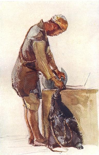 Associate Product JERUSALEM. Water-carrier filling skin, Jerusalem 1902 old antique print