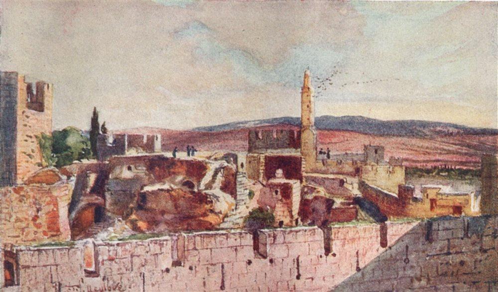 Associate Product JERUSALEM. Portion of the Citadel of Jerusalem 1902 old antique print picture