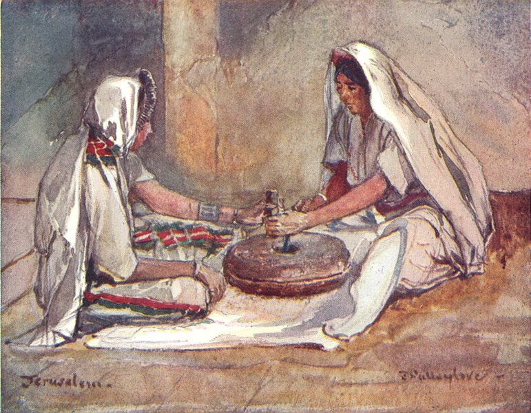 Associate Product ISRAEL. Two women grinding at a hand mill 1902 old antique print picture
