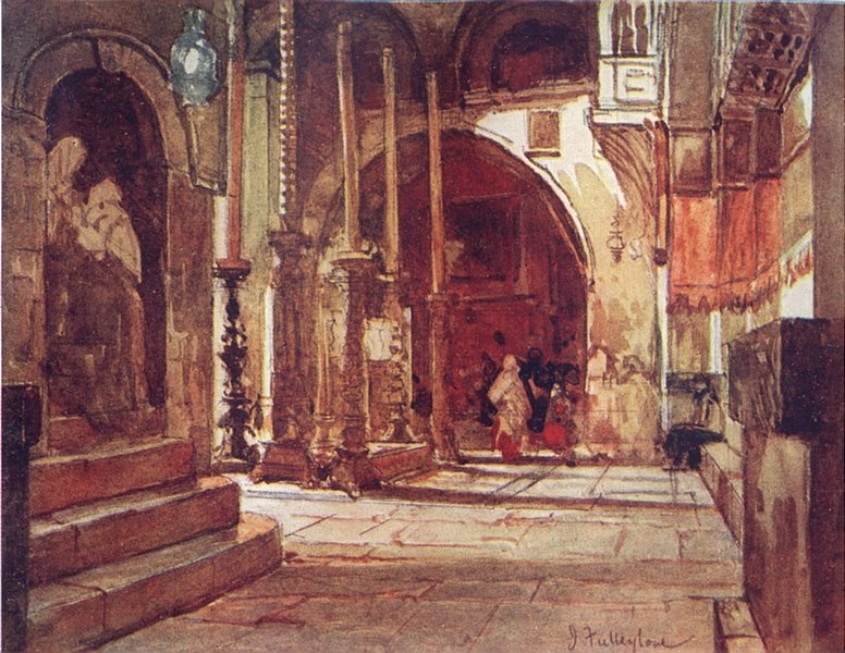 Associate Product JERUSALEM. Anointing stone ambulatory of crusaders Church 1902 old print