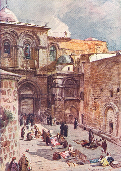 Associate Product JERUSALEM. The forecourt of the church of the Holy Sepulchre 1902 old print