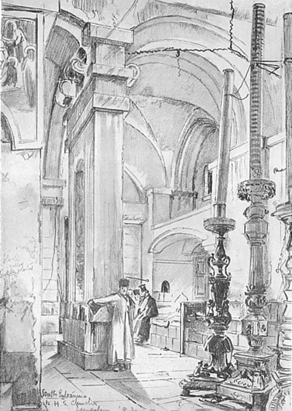 Associate Product JERUSALEM. The vestibule of the church of the Holy Sepulchre 1902 old print