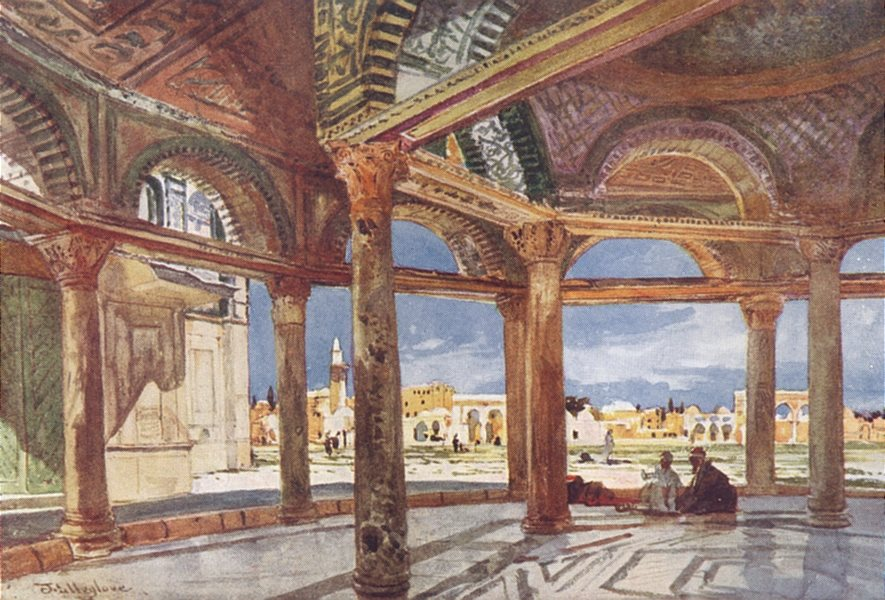 Associate Product JERUSALEM. Interior of the dome of the chain looking North 1902 old print