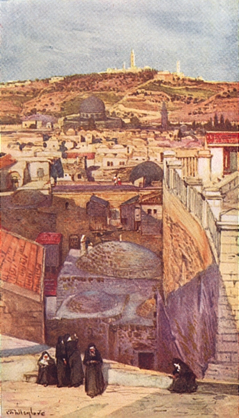 Associate Product JERUSALEM. The Mount of Olives from a housetop on Mount Zion 1902 old print