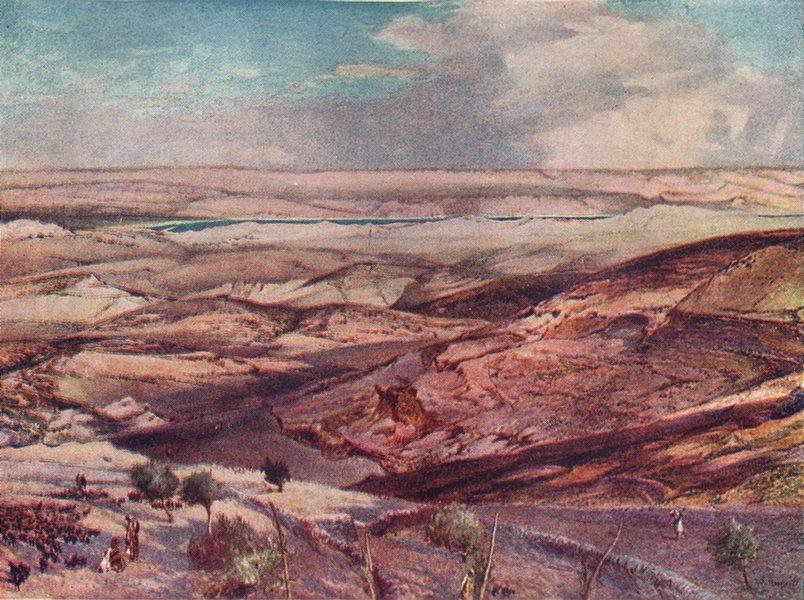 Associate Product ISRAEL. Judean desert & Dead sea highest point of Mount Olives 1902 old print