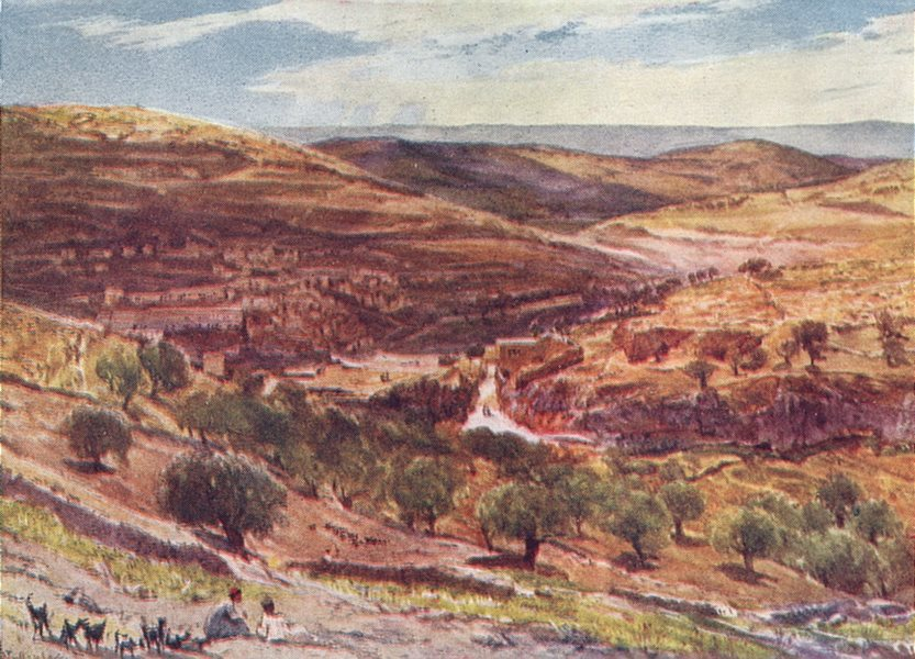 Associate Product JERUSALEM. The Valley of Hinnom with the hill of offence 1902 old print