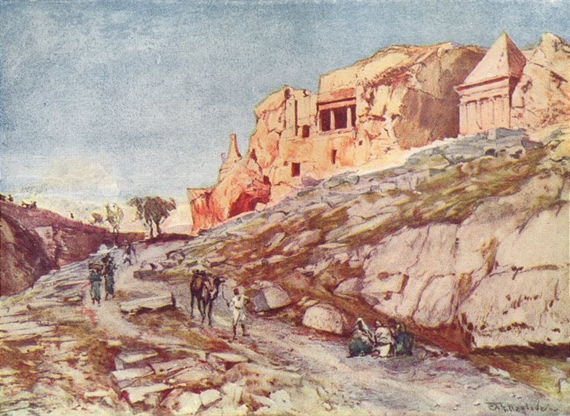 Associate Product ISRAEL. The rock-cut Tombs of the valley of Jehoshaphat 1902 old antique print