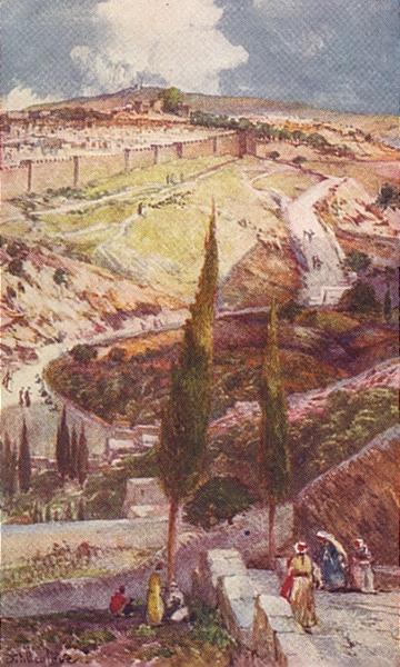 Associate Product ISRAEL. North-east end of Jerusalem & Mizpah Mount Olives 1902 old print