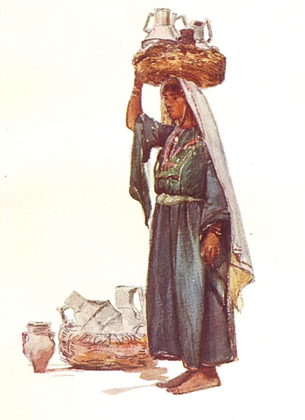 Associate Product PORTRAITS. Syrian peasant with milk vessels 1902 old antique print picture