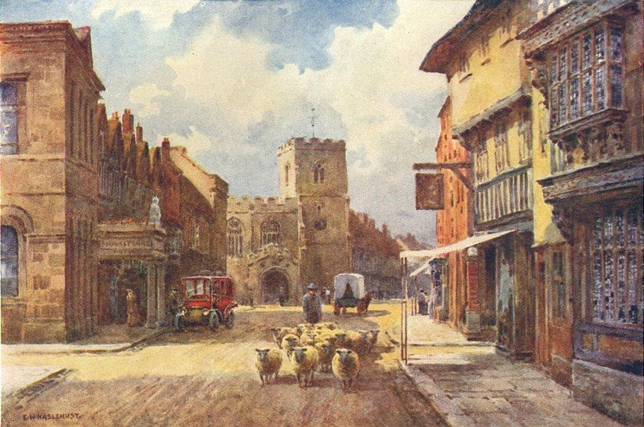 Associate Product High Street, Stratford-on-Avon. Warwickshire. By Ernest Haslehust 1920 print
