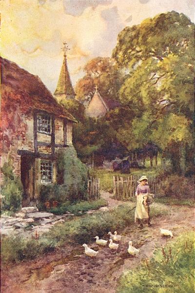 "Associate Product ""Papist Wixford"". Warwickshire. By Ernest Haslehust 1920 old vintage print"