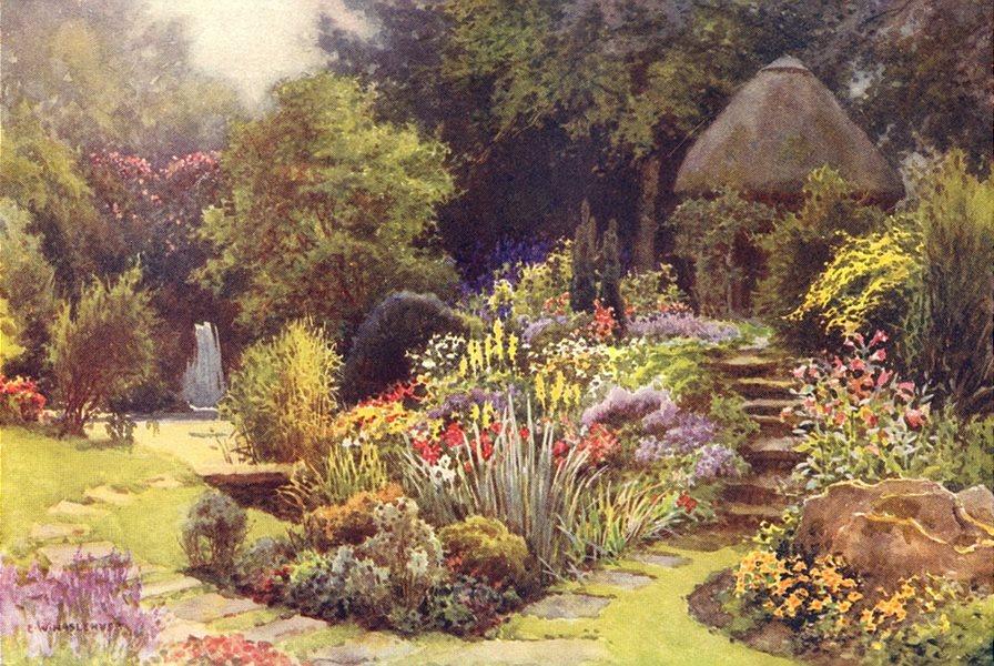 Associate Product The Japanese garden, Rufford Abbey. The Dukeries. Ernest Haslehust 1920 print