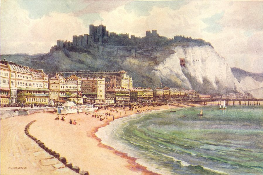 Associate Product Dover Castle and Marine Parade. Kent. By Ernest Haslehust 1920 old print