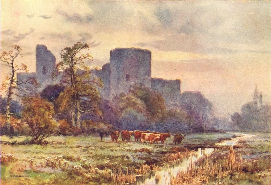 Associate Product Pevensey Castle from the Meadows. Sussex. By Ernest Haslehust 1920 old print
