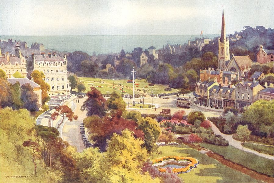 Bournemouth. The Square & Garden from Mont Dore. Dorset. Ernest Haslehust 1920
