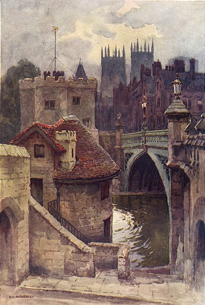 Associate Product The Water-Gates, Lendal Bridge. Yorkshire. By Ernest Haslehust 1920 old print