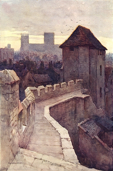 Associate Product Fishergate Postern from the walls. York. By Ernest Haslehust 1920 old print