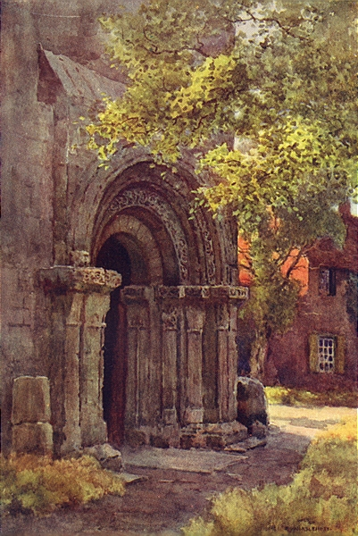 Norman Porch, St. Lawrence's Tower. York. By Ernest Haslehust 1920 old print