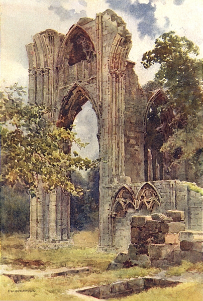 Associate Product Ruins of St. Mary's Abbey, York. Yorkshire. By Ernest Haslehust 1920 old print