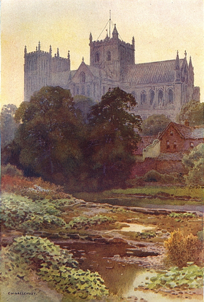 Associate Product Ripon Minster from the River. Yorkshire. By Ernest Haslehust 1920 old print