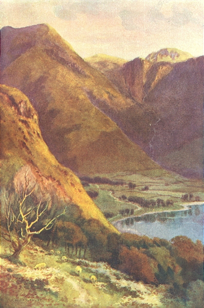 Head of Buttermere & Honister Crag, Lake district. Ernest Haslehust 1920 print