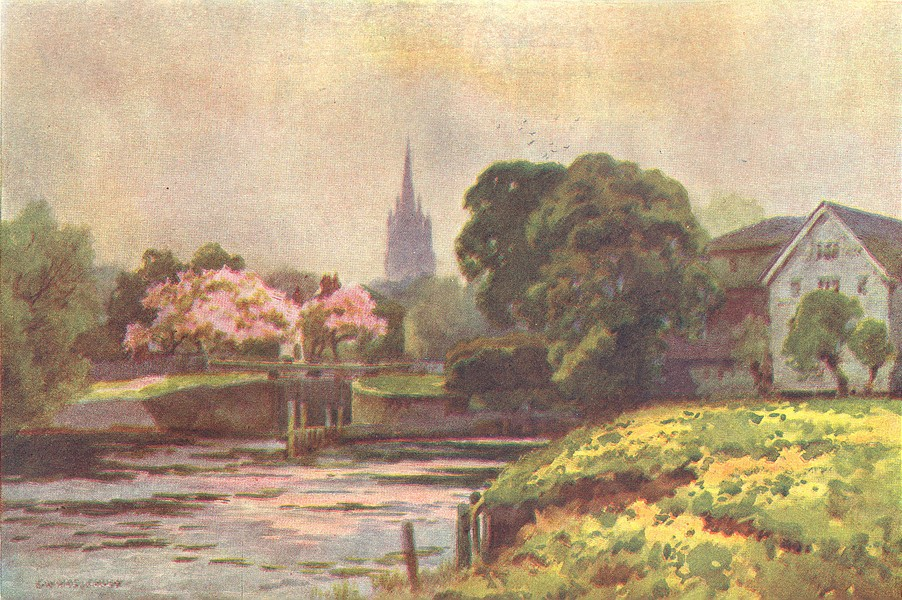 Marlow Lock. Buckinghamshire. By Ernest Haslehust 1920 old vintage print