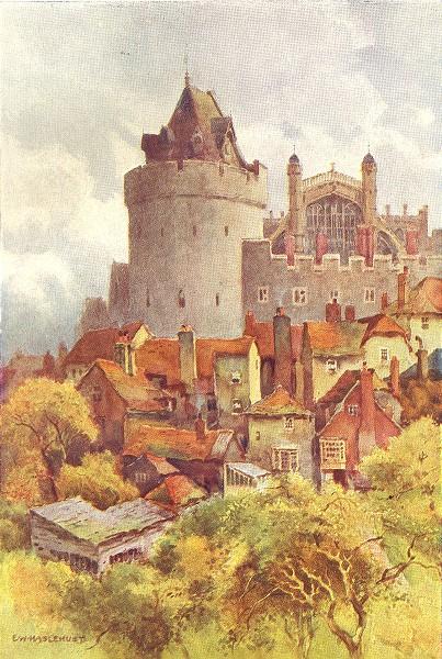 Associate Product The Curfew Tower, Windsor Castle. Berkshire. By Ernest Haslehust 1920 print