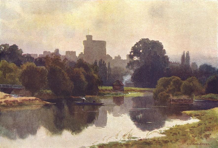 Associate Product Windsor Castle from Fellows' Eyot, Eton. Berkshire. Ernest Haslehust 1920