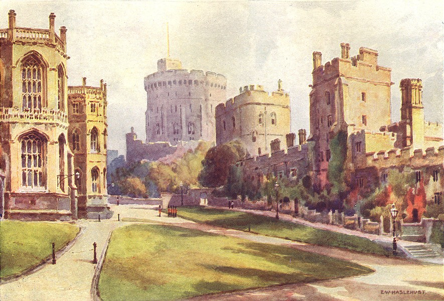 Associate Product The Lower Ward, Windsor Castle. Berkshire. Ernest Haslehust 1920 old print