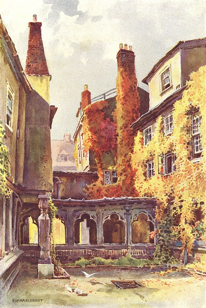 Associate Product The Canons' Cloisters , Windsor Castle. Berkshire. By Ernest Haslehust 1920