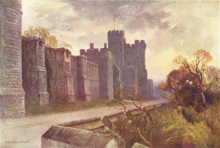 Associate Product North Terrace & Winchester Tower, Windsor Castle. Ernest Haslehust 1920 print