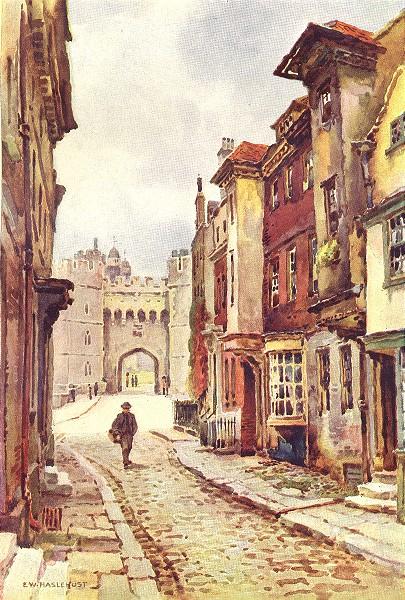 Associate Product Nell Gwyn's house & Henry VIII Gateway, Windsor Castle. Ernest Haslehust 1920